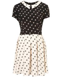 TOPSHOP Multicolor Mix and Match Print Flippy Dress