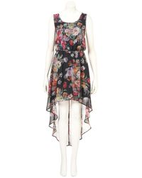 TOPSHOP Black Rose Dip Hem Dress
