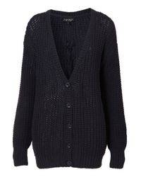 TOPSHOP Blue Knitted Lace Up Back Cardigan