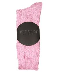 TOPSHOP | Pink Cable Marl Socks | Lyst