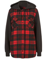 TOPSHOP Red Check Hooded Jacket