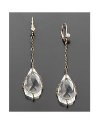 Betsey Johnson | Metallic Crystal Teardrop Earrings | Lyst