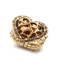 Betsey Johnson | Multicolor Leopard Heart and Bow Ring | Lyst