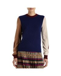 KENZO   Blue Cashmere Colorblock Sweater   Lyst