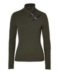 Ralph Lauren | Brown Loden Cashmere Cable Knit Mock Neck Pullover | Lyst