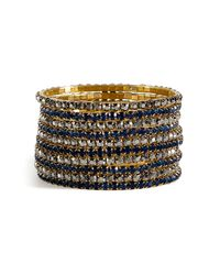 R.j. Graziano - Metallic Crystal Stretch Bangle Set - Lyst