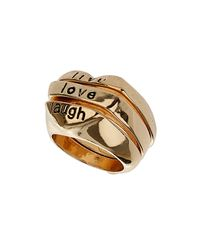 TOPSHOP - Metallic Stack Heart Ring - Lyst