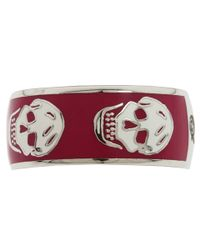 Alexander McQueen - Red Enamel Skull Ring  - Lyst