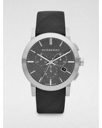 Burberry - Metallic Check Strap Chronograph Watch - Lyst
