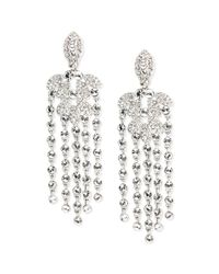Givenchy - Metallic Silver Tone Crystal Pearl Chandelier Earrings - Lyst