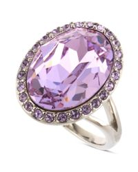 Givenchy | Metallic Silver Tone Violet Crystal Oval Cocktail Ring | Lyst