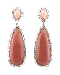 Irene Neuwirth Pink Opal Guava Quartz Diamond Drop Earrings