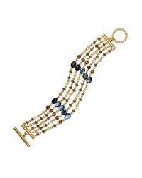 Lauren by Ralph Lauren | Metallic Gold Tone Beaded Toggle Bracelet | Lyst