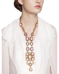 Oscar de la Renta - Pink Medieval Y Cabochon Necklace - Lyst