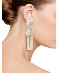 Oscar de la Renta - White Short Tassel Earring - Lyst