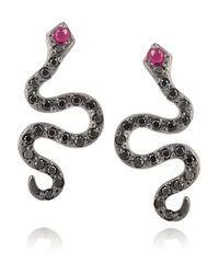 Ileana Makri | Pink Diamond & Gold Mamba Snake Earrings | Lyst