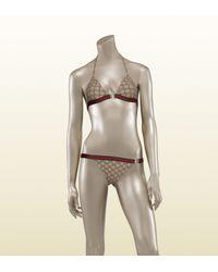 Gucci - Natural Triangle Top Bikini with Signature Web - Lyst
