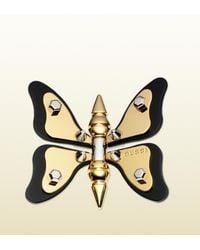 Gucci   Metallic Butterfly Motif Brooch   Lyst