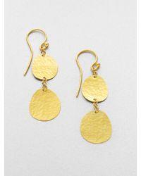 Gurhan | Metallic 24k Yellow Gold Disc Drop Earrings | Lyst