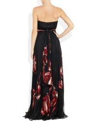 Alexander McQueen | Black Floral-Print Pleated Silk Chiffon Gown | Lyst