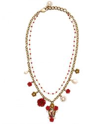 Dolce & Gabbana | Virgin Mary with Red Roses Necklace | Lyst