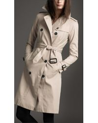 Burberry Natural Hooded Cotton Trench Coat