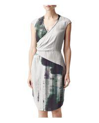 Reiss   Green Draped Printed Dress   Lyst