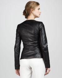 Theory - Black Leather Peplum Jacket - Lyst
