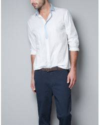 Zara | White Structured Shirt with Elbow Patches for Men | Lyst