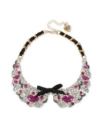 Betsey Johnson | Purple Antiqued Gold Tone Pink Lips Black Ribbon Collar Necklace | Lyst