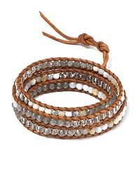 Chan Luu - Natural Five Wrap Quartz and Opal Stone and Leather Bracelet - Lyst