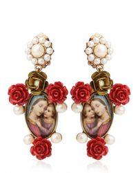 Dolce & Gabbana | Multicolor Virgin Mary Red Rose Resin Earrings | Lyst