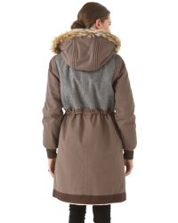 Marc By Marc Jacobs Brown Division Fox Trim Parka
