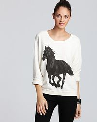 Wildfox - White Top Black Stallion Baggy Beach Jumper - Lyst