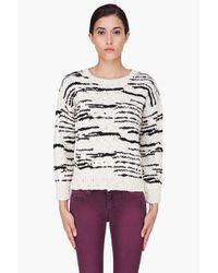 IRO | Natural Cream and Black Merino Knitted Jumper | Lyst