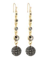 R.j. Graziano Black Hematite Rhinestone Pave Fireball Earrings