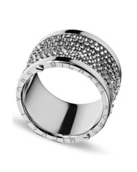Michael Kors - Metallic Silver Tone Pave Barrel Ring - Lyst