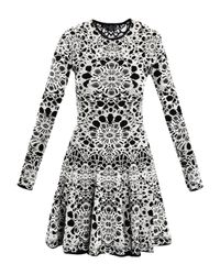 Alexander McQueen   White Bicolour Flower Jacquard Dress   Lyst