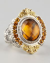 Konstantino | Orange Ilios Small Round Cognac Quartz Ring | Lyst