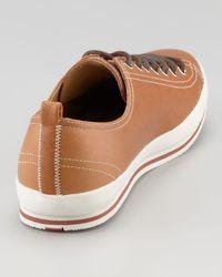 Prada   Captoe Leather Sneaker Brown for Men   Lyst