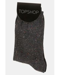 Topshop | Gray Nep Ankle Socks | Lyst