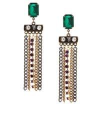 ASOS | Green Gem Edge Earrings | Lyst