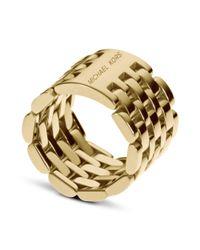 Michael Kors | Metallic Gold Tone Watch Link Ring | Lyst