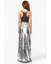 Nasty Gal Metallic Gina Sequin Maxi Skirt