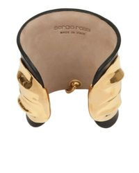 Sergio Rossi Black Gold Metal Leather Cuff