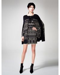 Alice By Temperley - Black Lily Intarsiaknit Cotton Cape - Lyst