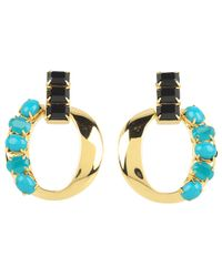 kate spade new york - Blue Chain Of Command Door Knocker Earrings - Lyst
