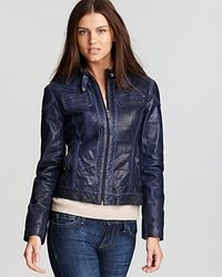 Michael Kors   Blue Color Moto Jacket   Lyst