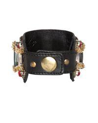 Temperley London Black Red Gemstone Leather Cuff