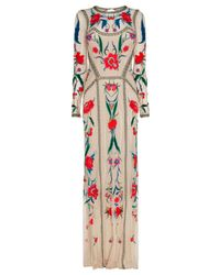 Temperley London | Natural Long Eliah Flower Show Dress | Lyst